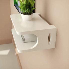 SKAFA-Set-Top-Box-Wall-Shelf-Wall-Mount-Stand-Wooden-Set-top-Box-Holder-Wall-Mount-Wall-Shelves-25x21x10-White