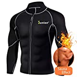 Men's Neoprene Weight Loss Sauna Shirt Suit Long Sleeve Hot Sweat Body Shaper Tummy Fat Burner Slimming Workout Gym Yoga (Black, XXXL)