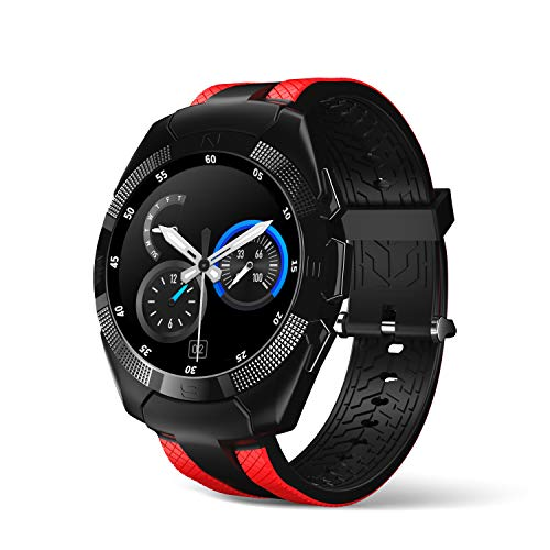 Smart Watch, Wonbo Bluetooth Touchscreen Sports Smartwatch, Remote Control Music & Fitness Heart Rate Tracker Sleeping Monitor, Make Call/SNS Notification Watch Compatible with iOS and Android (Red)