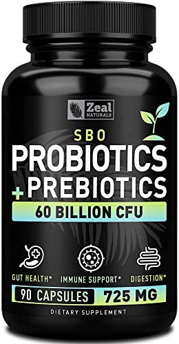 Probiotics and Prebiotics + SBO Probiotics (60 Billion CFU   90 Capsules) Acidophilus Probiotic w. Saccharomyces Boulardii, Bifidobacterium + Spore Probiotic & Organic Sprouted Prebiotic Fiber Blend 1