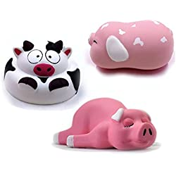 3 Pack Barn Animals Jumbo Slow Rising Squishy Toys | 4 Inch Diameter | Cow, Spotted Pig, Sleeping Pig | Cream Scented | Cute Soft Stress Relief Squeeze Collectible by Squish-Eez