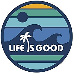 "Life is Good. 4"" Circle Sticker - LIG Wave - Darkest Blue"
