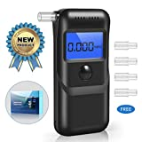 Breathalyzer, Professional Breath Alcohol Tester, Portable Digital Alcohol Detector LCD Screen with 5 Mouthpieces, Auto Power Off and Sound Alarm