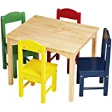 AmazonBasics Kids' Wood Table & 4 Chair Set, Natural Table, Assorted Color Chairs