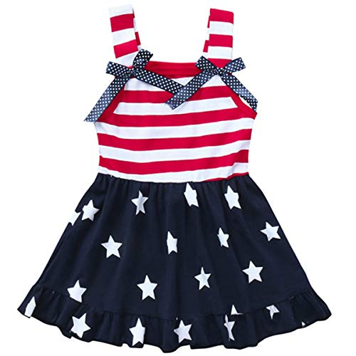 LYSMuch Toddler Kids Baby Girls 4th of July Outfit American Flag Dress Stars Striped Straps Princess Beach Sundress (18-24 Months, Red White Blue)