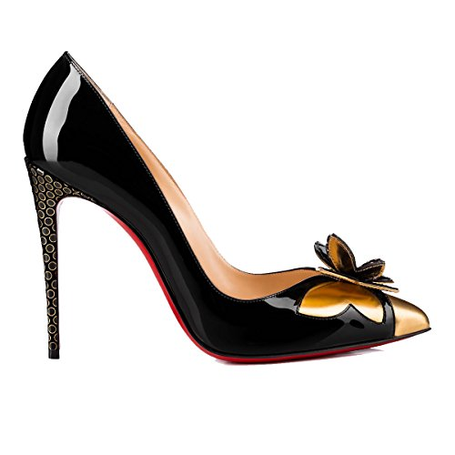 41NyIShvXRL PUMPS CHRISTIAN LOUBOUTIN, LEATHER 50%, PATENT LEATHER 50%, color BLACK, Heel 100mm, Leather sole, MARIPOPUMP, FW17, product code 3170410CM47 FW17