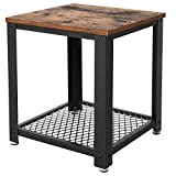 VASAGLE Industrial End, 2-Tier Side Table with Storage Shelf, Sturdy and Easy Assembly, Wood Look Accent Furniture with Metal Frame ULET41X, Vintage
