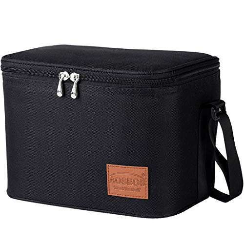 Aosbos Insulated Lunch Box Bag Cooler Reusable Tote Bag Women Men 7.5L Black