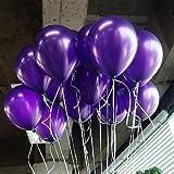 LOKMAN 12 Inch Ultra Thickness Purple Latex Metallic Balloons, 100 Pieces (Purple)