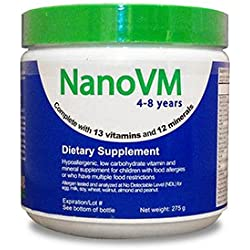 Solace Nutrition NanoVM 4-8 (275g) Flavorless Powdered Hypoallergenic, Carbohydrate Free Vitamin & Mineral Supplement, Designed Specifically For Children with Food Allergies 4-8 Years of Age