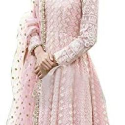 FotoableArc Women's Pink Embroidered Taffeta Silk Semi Stitched Anarkali Gown (Pink_Free Size)