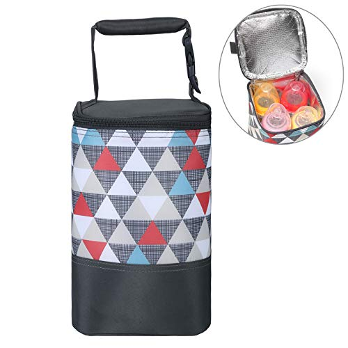 Insulated Baby Bottle Tote Bags - Size Upgrade Breastmilk Storage Bag Multipurpose Baby Bottle Cooler Bag (Colored Triangle, Fits up to 4 Large 8 Oz. Bottles)