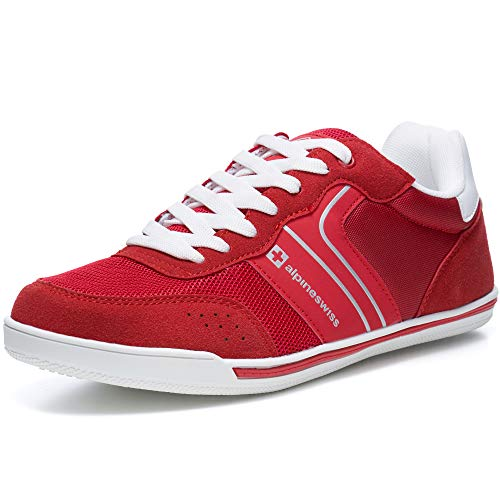 alpine swiss Liam Mens Fashion Sneakers Suede Trim Low Top Lace Up Tennis Shoes RED 8 M US