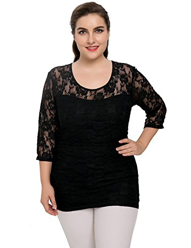 Chicwe Women S Stretch Smitten Plus Size Lace Top 1x 4x