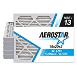 Aerostar 16x20x2 MERV 13 Pleated Air Filter, Made in the USA, 6-Pack