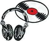 DJ Headphones - With Vinyl Record Album - Embroidered Iron On Or Sew On Patch