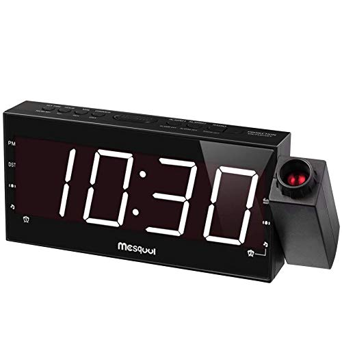 Mesqool Projection Alarm Clock for Bedrooms - AM FM Radio,180° Projector, 7