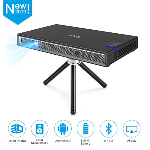 Cocar Mini Projector T5 2019 New Upgrade Android 6.0 Protable Video Projector Built-in Battery 3D DLP-Link 2400-Lumen Louder Speaker WiFi Bluetooth HDMI Support 4K Keystone Correction Black