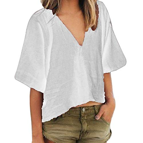 Snowlily Blouse,New Women's Nachtkleding Fashion V-Neck Blouse Summer Elastic Short Sleeve Casual T-Shirts White