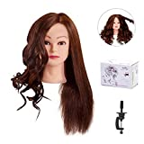 MYSWEETY 25' Mannequin Head 100% Human Hair Hairdresser Training Head Manikin Cosmetology Doll Head with Table Clamp Stand
