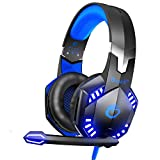 VersionTECH. G2000 Stereo Gaming Headset for Xbox One PS4 PC, Surround Sound Over-Ear Headphones with Noise Cancelling Mic, LED Lights, Volume Control for Laptop, Mac, PS2, Game Boy Advance -Blue