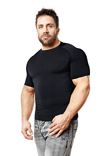 Copper Compression Short Sleeve Men's Recovery T Shirt. Highest Copper Content Guaranteed. Support Sore & Stiff Muscles & Joints. Best Compression Fit T-Shirt Running, Basketball, Sports Wear (Large)