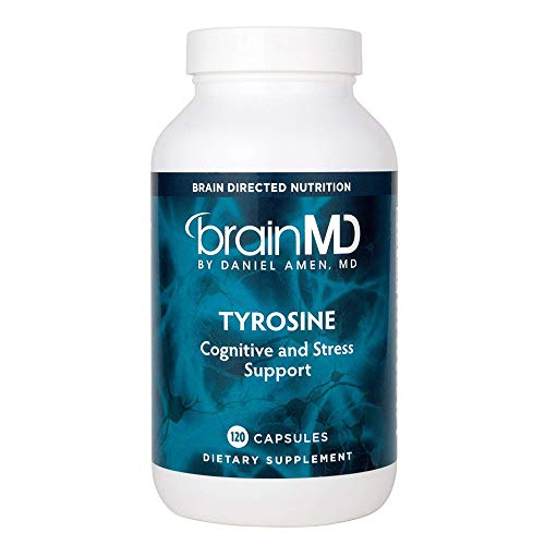 Dr. Amen brainMD Tyrosine - 1000 mg, 120 Capsules - Mood & Adrenal Support Supplement, Promotes Mental Focus, Clarity & Alertness, Energy Booster - Gluten-Free - 60 Servings