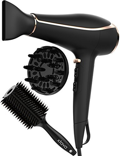 xtava Ionic Blow Dryer Voluminous Toolkit - Ceramic Blow Drying Kit with Nozzle Diffuser Attachment for Curly Hair and Round Body Hair Brush - Fast Styling Travel Hair Dryer for Professional Salon Use
