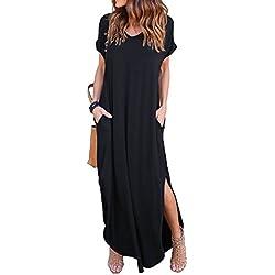 GRECERELLE Women's Casual Loose Pocket Long Dress Short Sleeve Split Maxi Dresses