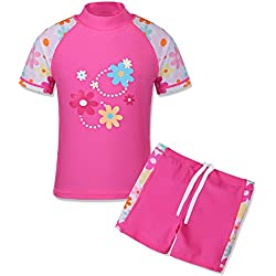 TFJH E Girls Swimsuit UPF 50+ UV 2PCS Cute Floral Shorts Swimwear HotPink Short 7-8 Years 8A