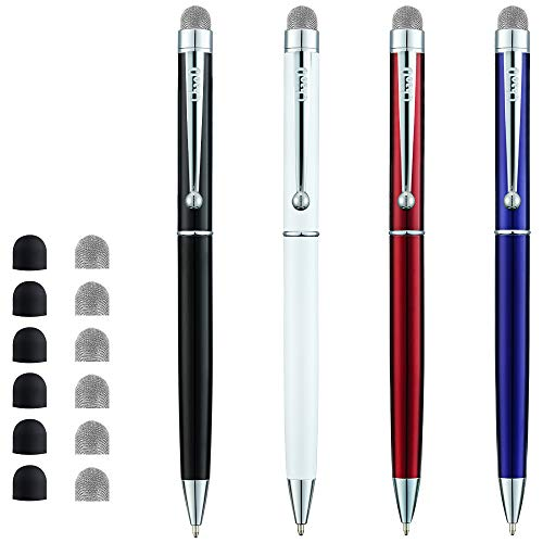 CHAOQ Stylus Pens, [4 Pcs, Silver Clip] Mesh Fiber Tip Stylus Pens for all Capacitive Touch Screens Cell phones, iPad, Tablets, Ball Pens Black Ink with 6 Extras Replacement Fiber Tip and 6 Rubber Tip
