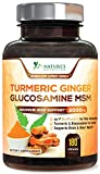 Turmeric Curcumin with Ginger, Glucosamine & MSM 2000mg 95% Curcuminoids with Bioperine Black Pepper for Best Absorption for Joint Relief, Turmeric Supplement Pills, Natures Nutrition - 180 Capsules