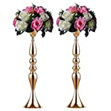 Sfeexun Pcs of 2 Tall Metal Vase for Wedding Centerpieces Decoration-Artificial Flower Arrangement-Pillar Candle Holder Stand Set for Wedding Party Dinner Event Centerpiece Home Decor (Gold, 19.7' H)