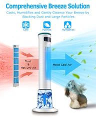 COMFYHOME-2-in-1-43-Evaporative-Air-Cooler-Tower-Fan-wCooling-Humidification-Function-4L-Water-Tank-3-Wind-Speeds-4-Modes-70-Oscillation-15H-Timer-Digital-LED-Display-Remote-Control