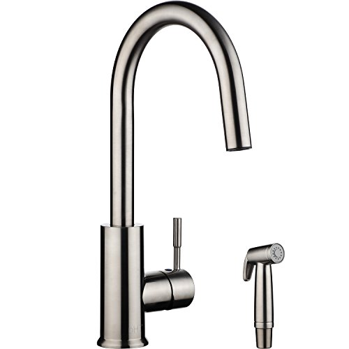 pH7 Single Handle Pull Down Sprayer Kitchen Sink Faucet with Spray Gun Touch On Brushed Nickel Kitchen Faucets