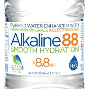 Alkaline88 Purified Ionized Water with Himalayan Minerals & Electrolytes for smooth taste. Perfectly balanced for your body with 8.8ph. 3-Liter Case – (4) 3-Liter bottles per case. 100% Recyclable.