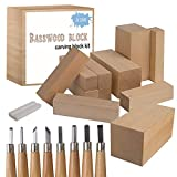 [Premium] Wood Carving Whittling Kit - Woodcarving Set for Beginner, Kids and Adults - 10 Basswood Carving Blocks + 8 Piece SK10 Carbon Steel Tools