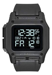 Nixon Regulus All Black Men's Water and Shock Resistant Digital Watch. (46mm. Black Digital Watch Face/Black Locking Looper Band)