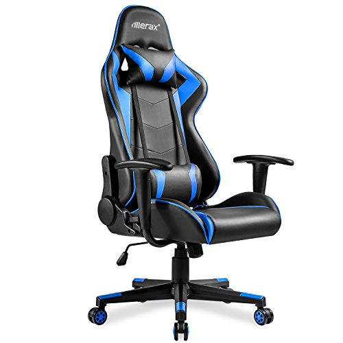 Merax High Back Gaming Enlarged Racing Home Office Computer Chair (Blue)