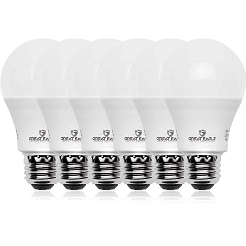 Great Eagle 100W Equivalent LED A19 Light Bulb 1600 Lumens Daylight 5000K Dimmable 15-Watt UL Listed (6-Pack)