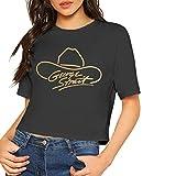 George Strait Shirt Crop Top Womens Short Sleeve Blouse Dew Navel Tshirt Slub S Black