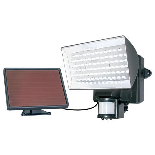 MAXSA Solar-Powered Security Floodlight, Motion-Activated Outdoor Light Provides Bright Light with 80 LEDs for your Front Yard, Driveway, or Walkway, Black 40226