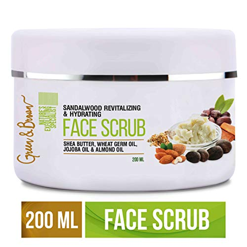 41ObZAzXXPL - Green & Brown 7in1facescrub Exfoliating and Moisturizing with Sandalwood, Passion Fruit, Grapefruit, Shea Butter, Jojoba Oil and Almond Oil For Men and Women, White, 200 ml