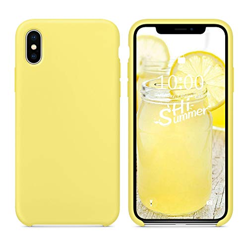 SURPHY Silicone Case for iPhone Xs iPhone X Case, Soft Liquid Silicone Slim Rubber Protective Phone Case Cover (with Soft Microfiber Lining) Compatible with iPhone X iPhone Xs 5.8', Yellow
