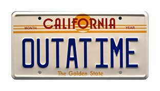 Celebrity-Machines-Back-to-The-Future-Delorean-Outatime-Metal-Stamped-Vanity-Prop-License-Plate