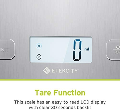 Etekcity Food Kitchen Scale, Digital Grams and Oz for Cooking, Baking, and Weight Loss, Christmas Gift for Holiday Meal Prep, Large, Stainless Steel 3