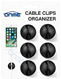Cable Clips, ONME 6 Pack Cable Holder Multipurpose Cord Management for Home Non-Toxic Rubber Material Self-Adhesive Desk Cord Clips Durable Cord Organizer Black Cord Holder for Office (Black 6pcs)