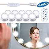 Mirror Lights, Hollywood Style LED Vanity Mirror Lights Kit with 10 Dimmable Bulbs, USB Cable Vanity Lights for Mirror with 3 Color Modes & 10 Adjustable Brightness(Mirror & USB Charger Not Include)