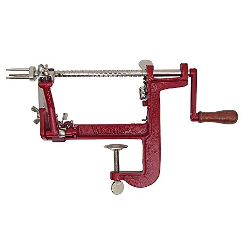 Victorio Kitchen Products VKP1011 Johnny Apple Peeler Cast Iron Clamp Base, Slicer, Corer, Parer & Pie Maker, Red