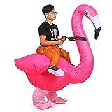 Inflatable Flamingo Costume Adutls Ride On Flamingo Halloween Costume Cosplay (Flamingo)